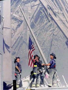 firefightersraiseamericanflagamidsrescue
